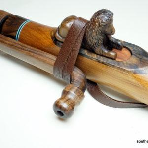 Walnut Lion Totem - Custom Carved Native American Flute Totem - Southern Cross Flutes