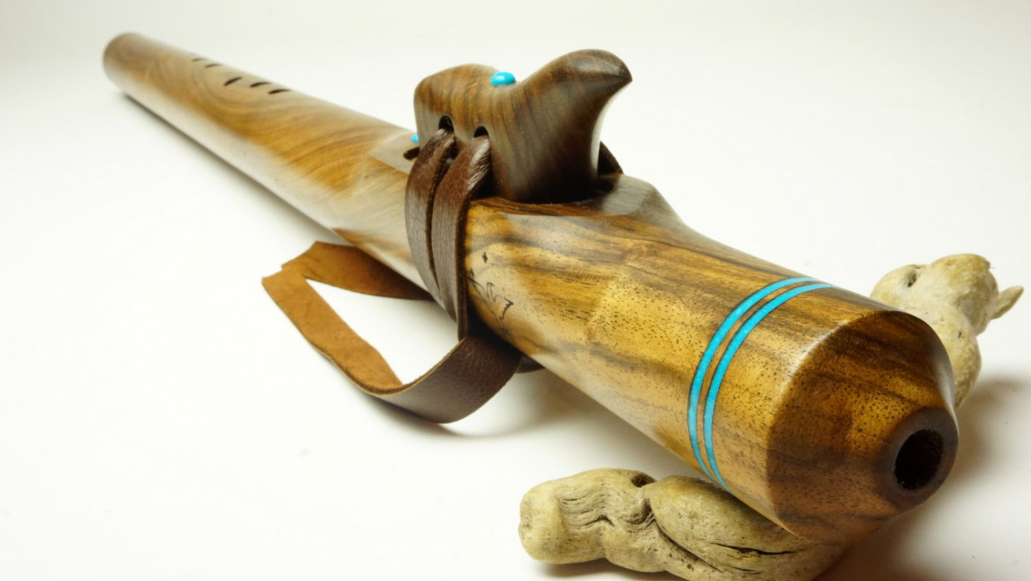 Black Walnut with Turquoise - Grandfather Flute - Various Keys