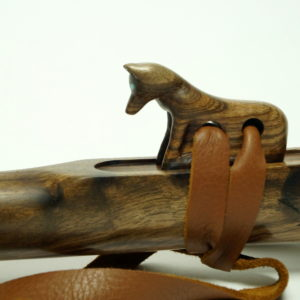 Walnut Wolf Totem - Custom Carved Native American Flute Totem - Southern Cross Flutes