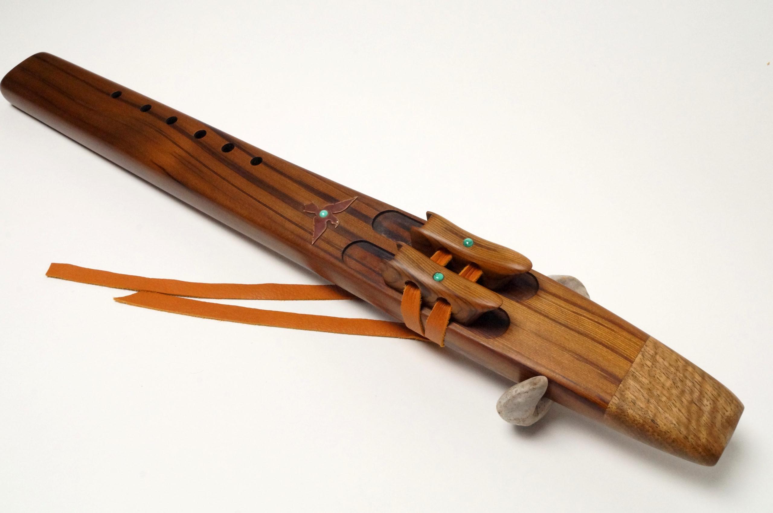 Hand Made very deep sound Western Cedar Bass Key of Low B-flat Native American Flute DRONE