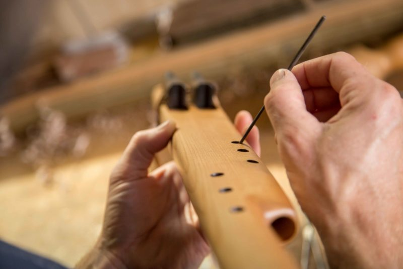 Native American Drone Flute being crafted in Southern Cross Flutes Workshop